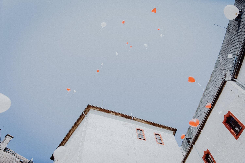 Luftballons Schloss Wolkenstein