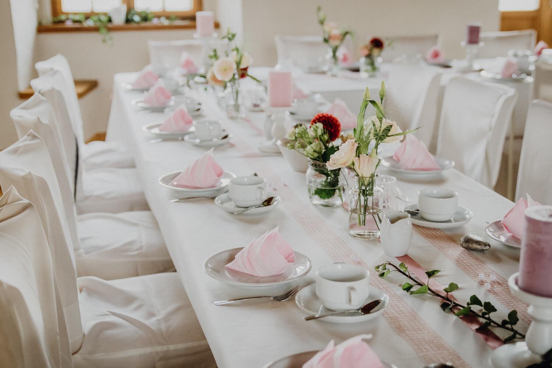 Tischdekoration Hochzeit Schloss Wolkenstein